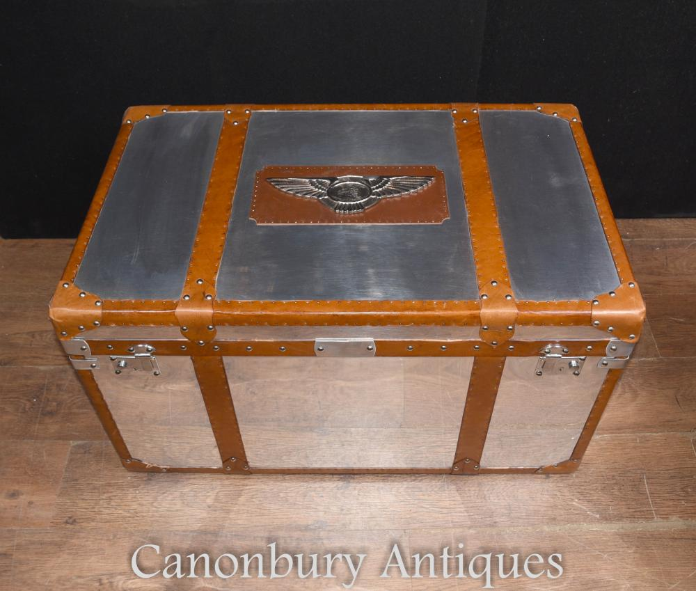 Chrome Leather Aston Martin Luggage Trunk Steamer Side