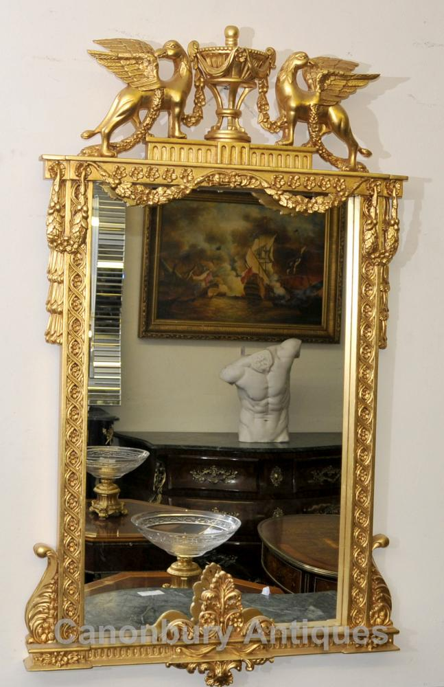 Classical French Empire Pier Mirror Winged Griffin Gilt Glass
