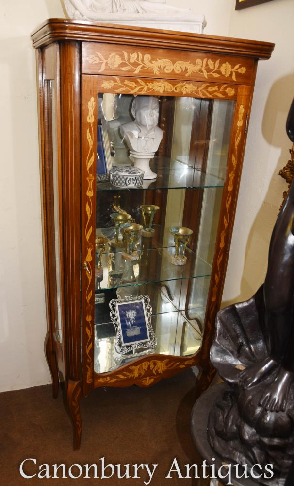 SHIPPING QUOTE - Dutch Marquetry Glass Display Cabinet Inlay Bijouterie