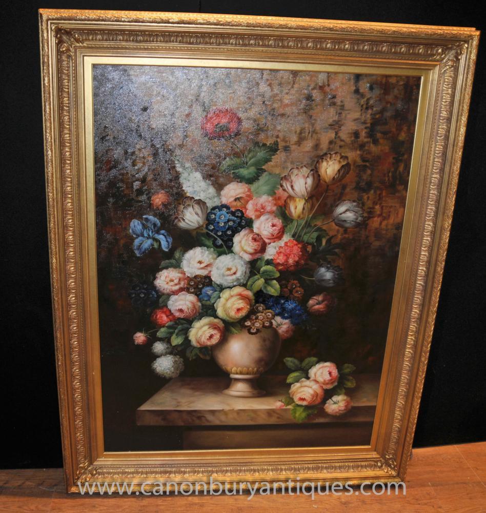 Dutch Oil Painting Vivid Floral Still Life Flower Art
