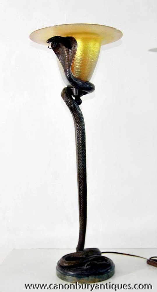Edgar Brandt Art Deco Bronze Cobra Lamp Floor Snake Light