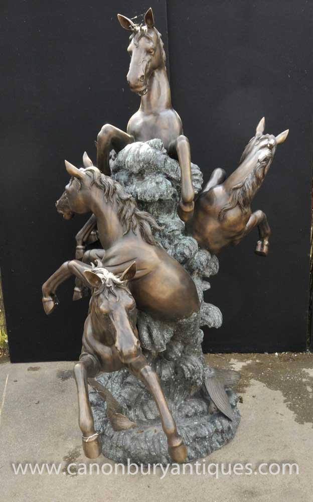 English Bronze Leaping Horse Fountain Garden Water Feature