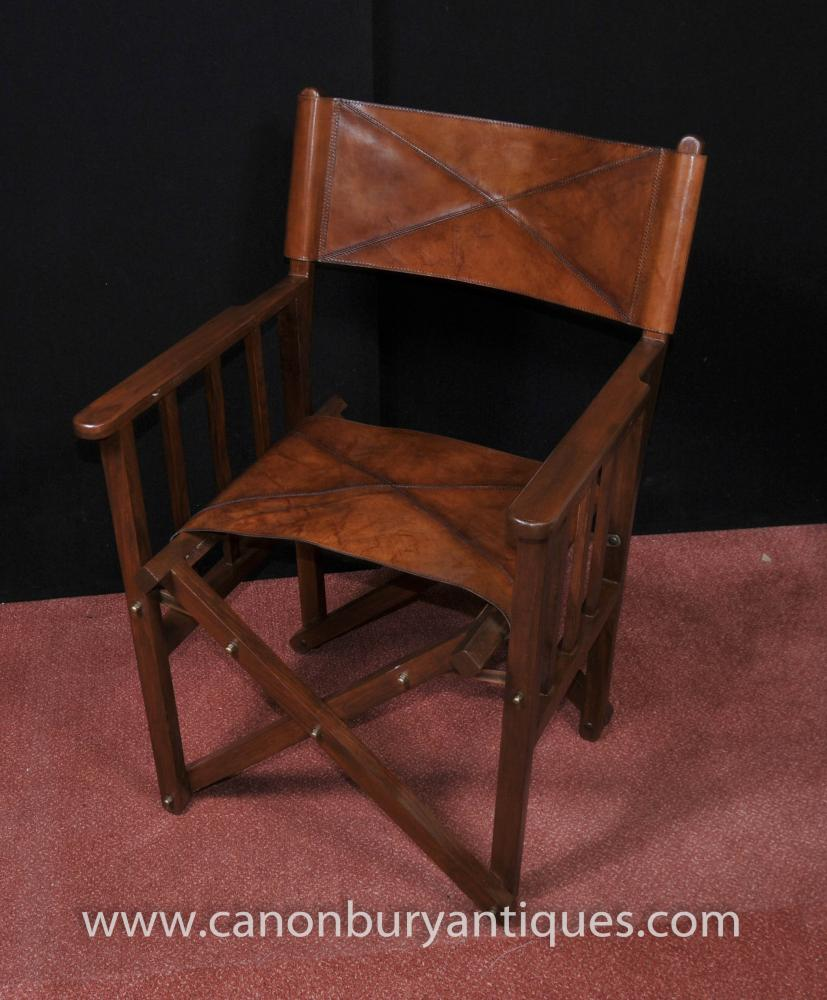 English Campaign Leather Arm Chair Folding Desk Chair Seat