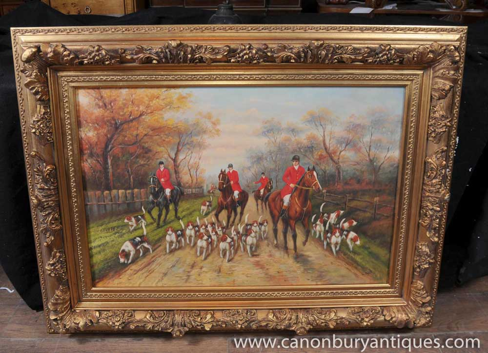 English Fox Hunting Scene Oil Painting Signed G Roy