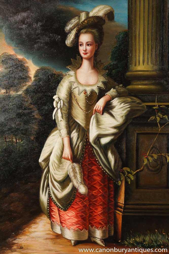 English Georgian Oil Painting Portrait Classic Lady Aristocrat