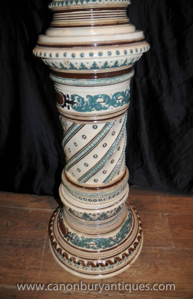 English Majolica Porcelain Jardiniere Plant Stand Pot Column