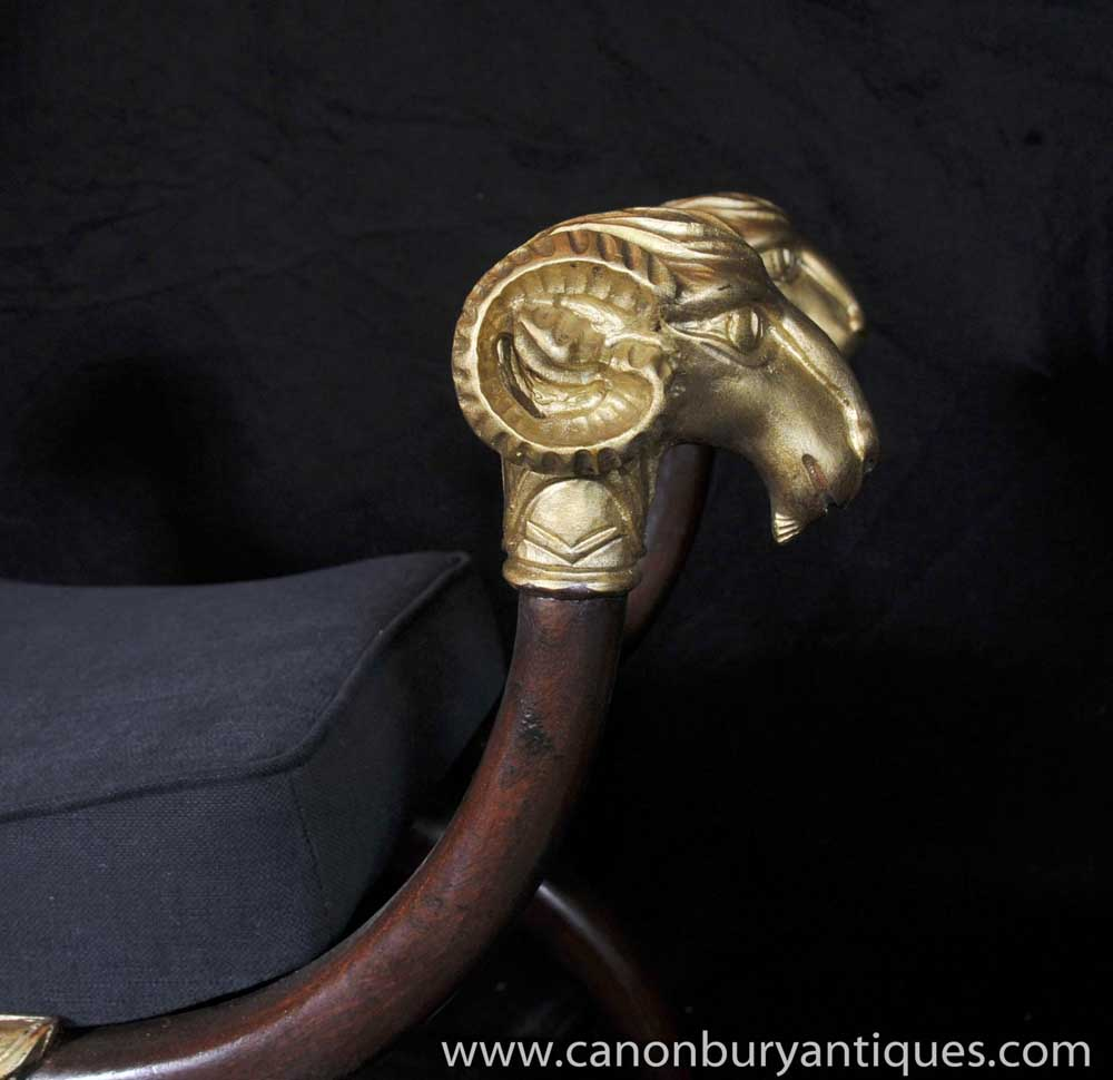 English Regency X Frame Stool Seat Rams Head