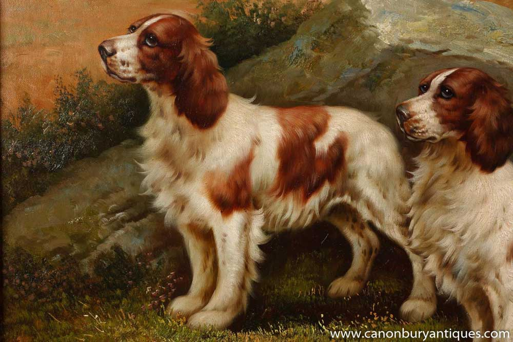 English Victorian Oil Painting Cocker Spaniel Dogs Portrait