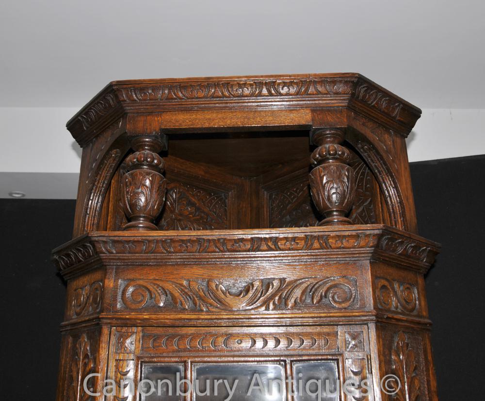 English Antique Carved Oak Jacobean Corner Cabinet 1890s