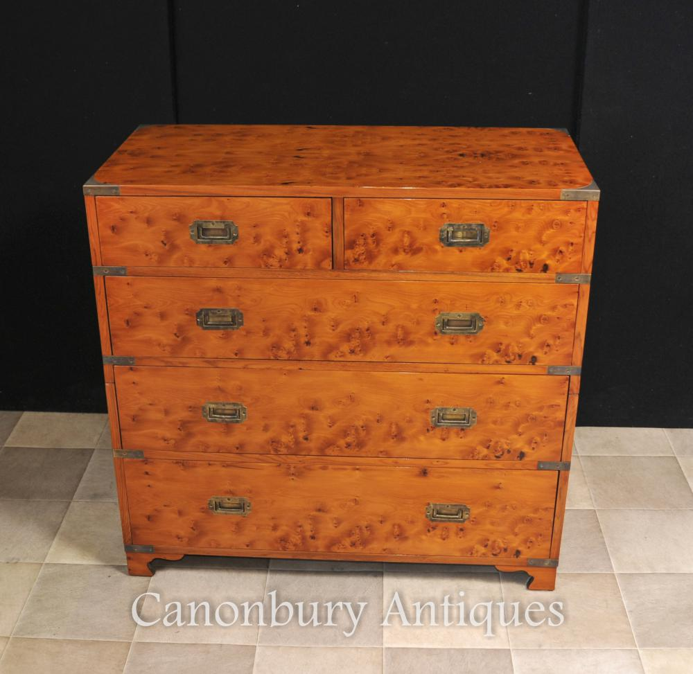 English Campaign Chest Drawers Cabinet Satinwood Colonial