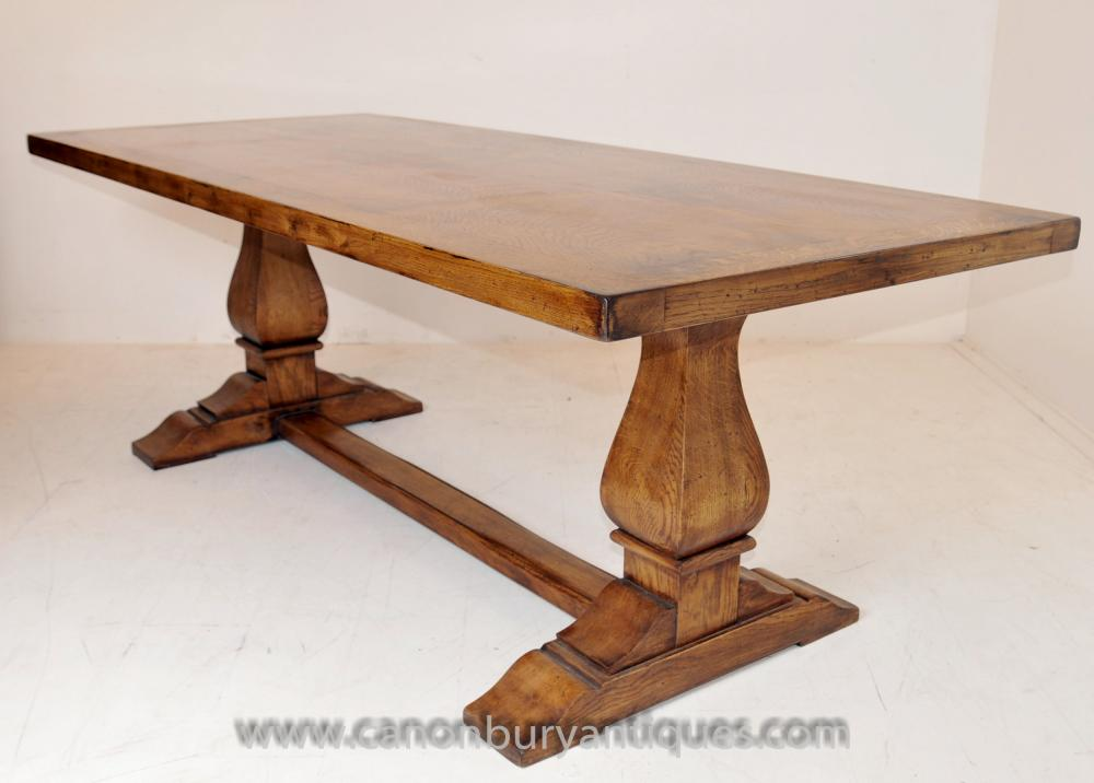 English Farmhouse Oak Refectory Table Trestle Tables