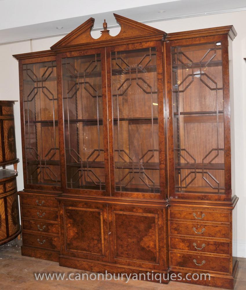 English Gothic Victorian Breakfront Bookcase Walnut Furniture