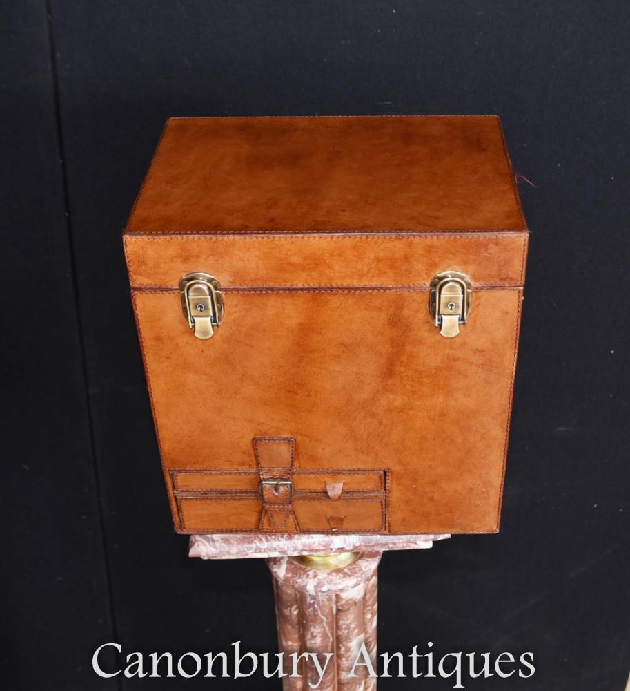 b6c43032f152c English Leather Hamper Champagne Wine Cooler Ice Bucket Steamer Trunk Box
