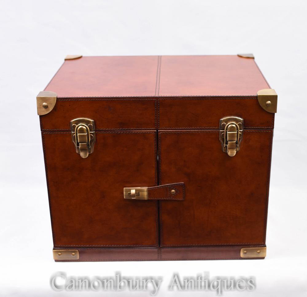 861e1fbd2da94 English Leather Hamper Wine Champagne Trunk Box Campaign Furniture