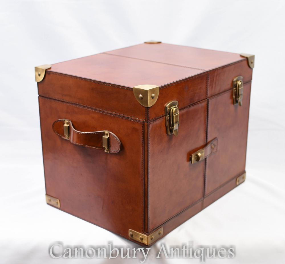 9e07955da5575 English Leather Hamper Wine Champagne Trunk Box Campaign Furniture ...