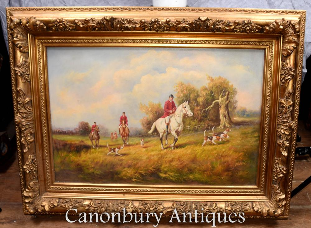 English Signed Oil Painting Fox Hunting Scene The Hunt G Roy