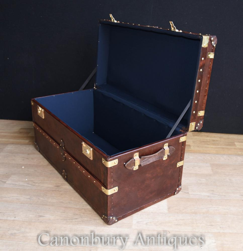 English Steamer Trunk Leather Luggage Box Case Coffee Table