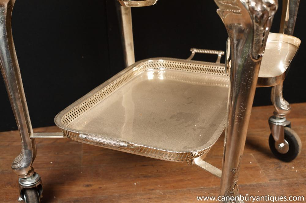 English Victorian Silver Plate Beef Trolley Serving Table