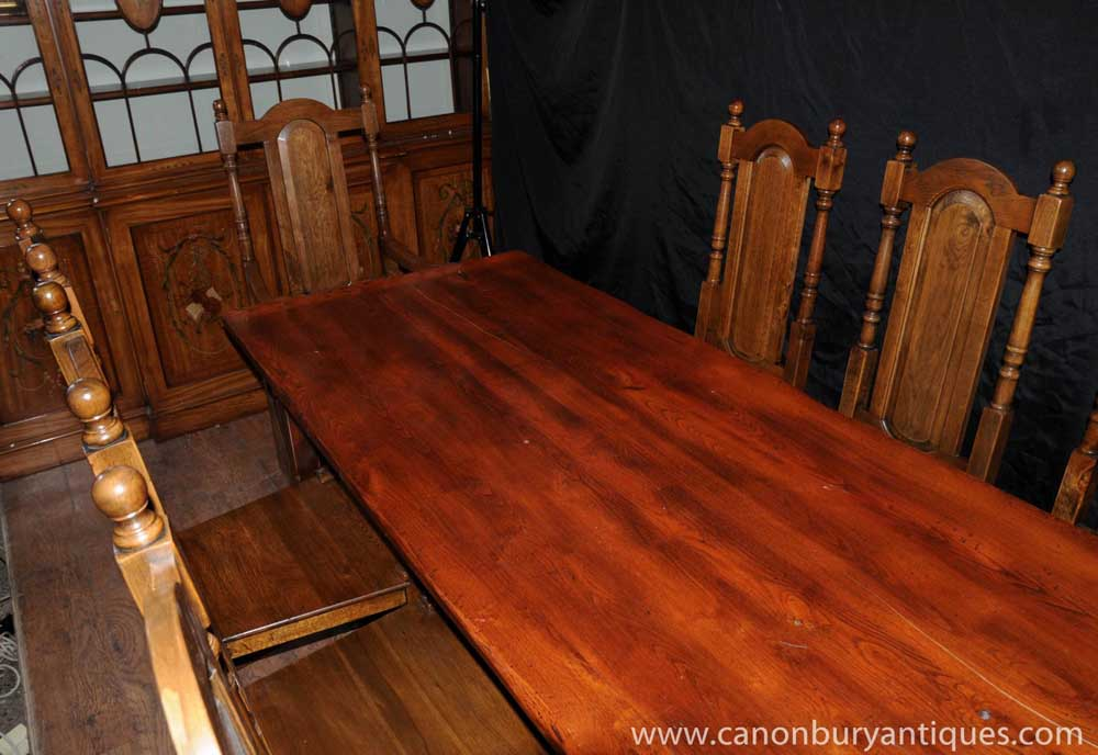 farmhouse dining set oak refectory table willam and mary chairs. Black Bedroom Furniture Sets. Home Design Ideas