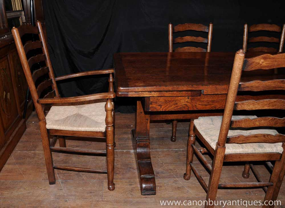 Farmhouse kitchen dining set refectory table set for Kitchen dining sets