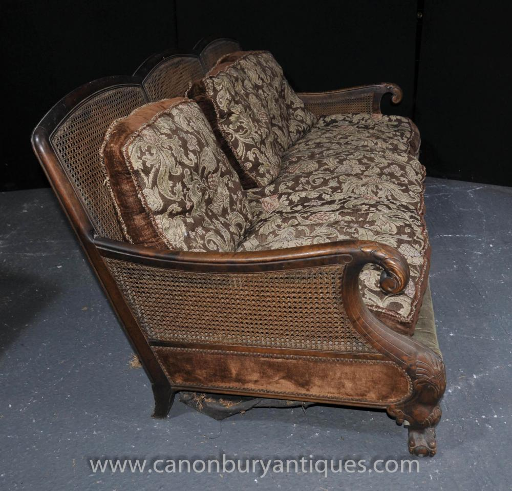 French Antique Bergere Sofa Arm Chair Suite Couch Chairs