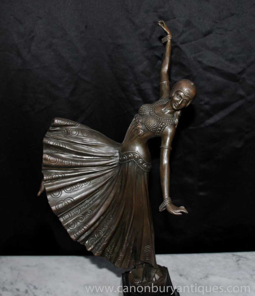 french art deco chiparus bronze dancing girl figurine statue. Black Bedroom Furniture Sets. Home Design Ideas