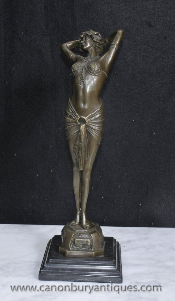 French Art Deco Reveil Bronze Dancer Figurine Signed Philips
