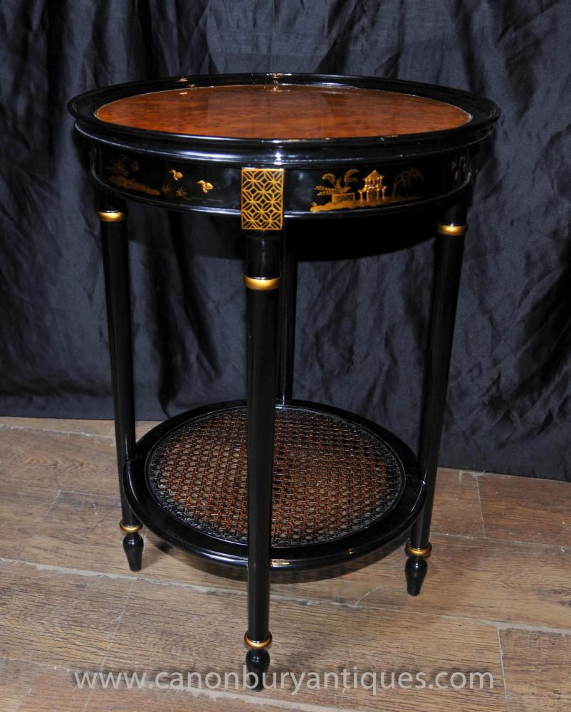 French Black Lacquer Side Cocktail Table Chinoiserie