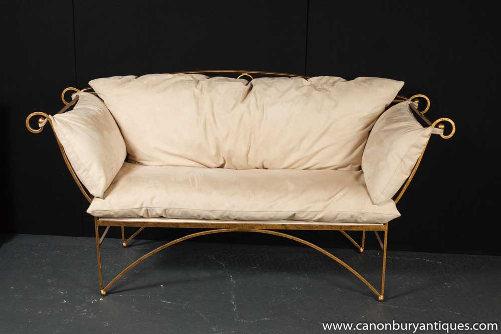 French Brass Art Nouveau Love Seat Sofa Couch