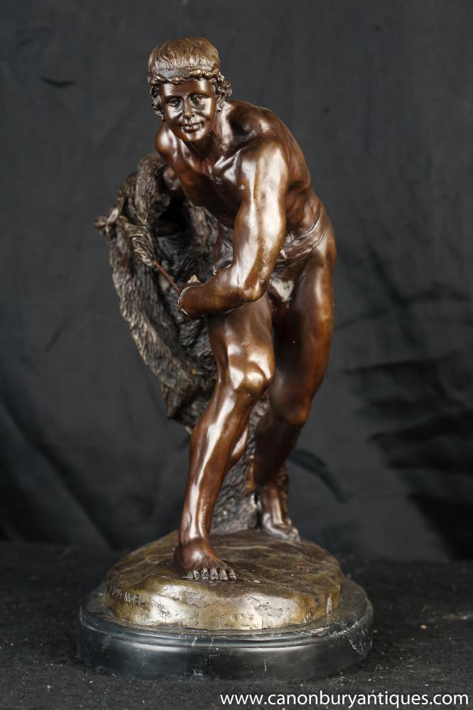 French Bronze Gladiator Statue Casting By Tony Noel Roman