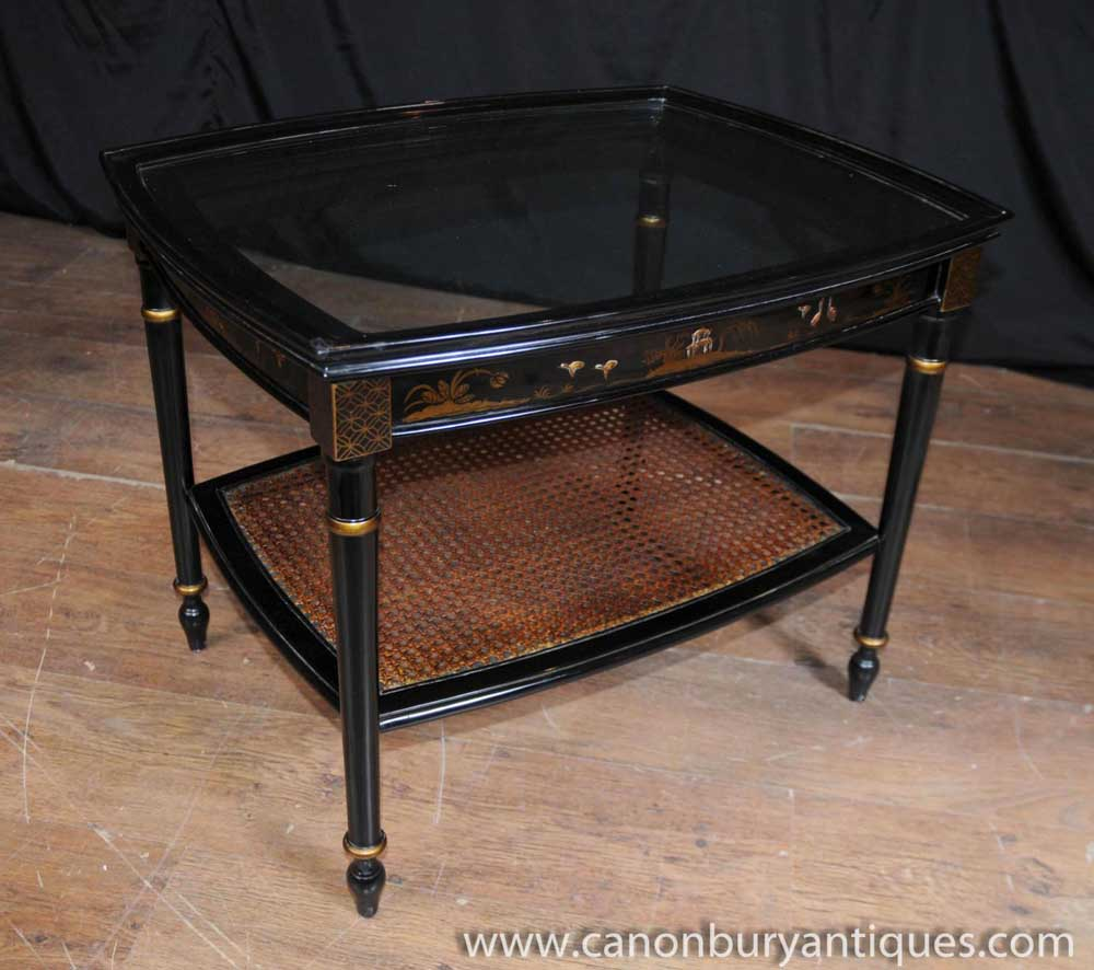 Say Coffee Table In French: French Chinoiserie Black Lacquer Coffee Table Cocktail Tables