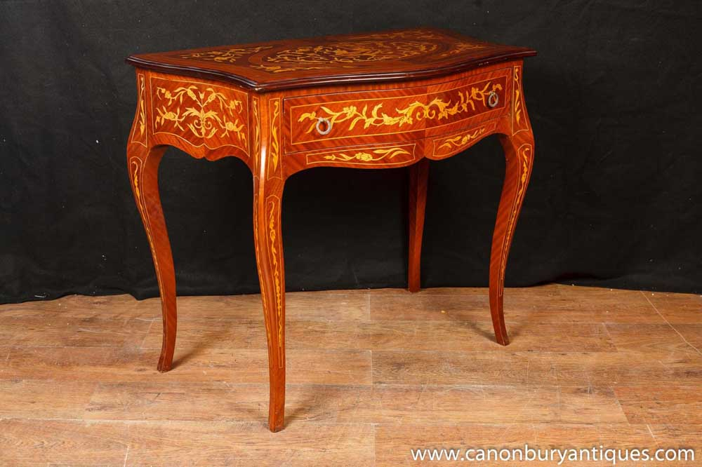 French Empire Console Table Hall Tables Marquetry Inlay Furniture | EBay