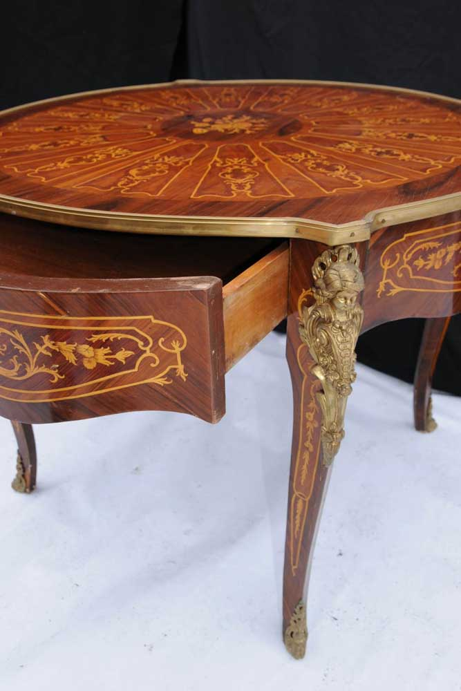 French Empire Inlay Centre Table Round Dining Tables