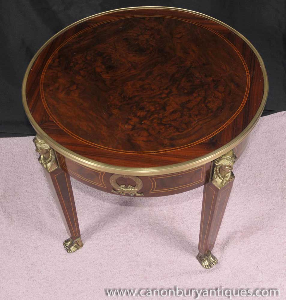 French Empire Side Table Round Cocktail Tables