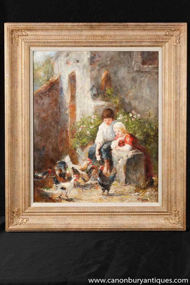 French Impressionist Oil Painting Children Hens Art Gilt Frame