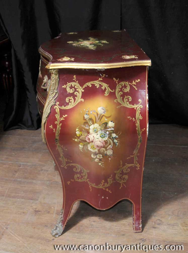 French Lacquer Bombe Commode Chest Drawers Floral Painted
