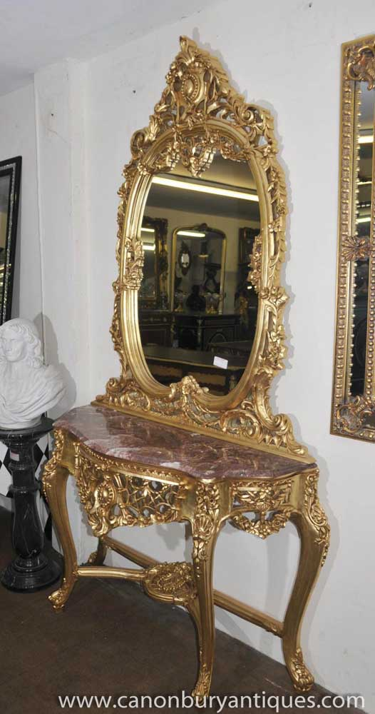 French Louis Xv Gilt Console Table Mirror Set Rococo