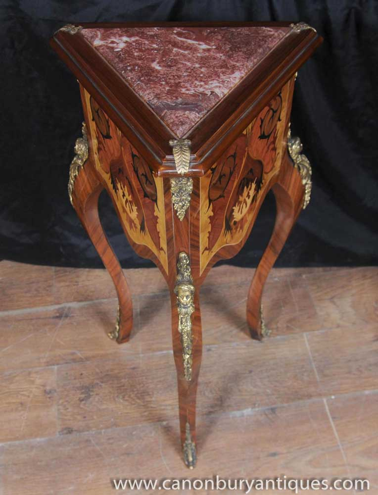 French Louis Xv Side Table Triangle Corner Tables Inlay