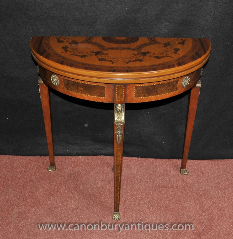 french napoleon demi lune card table console games tables. Black Bedroom Furniture Sets. Home Design Ideas