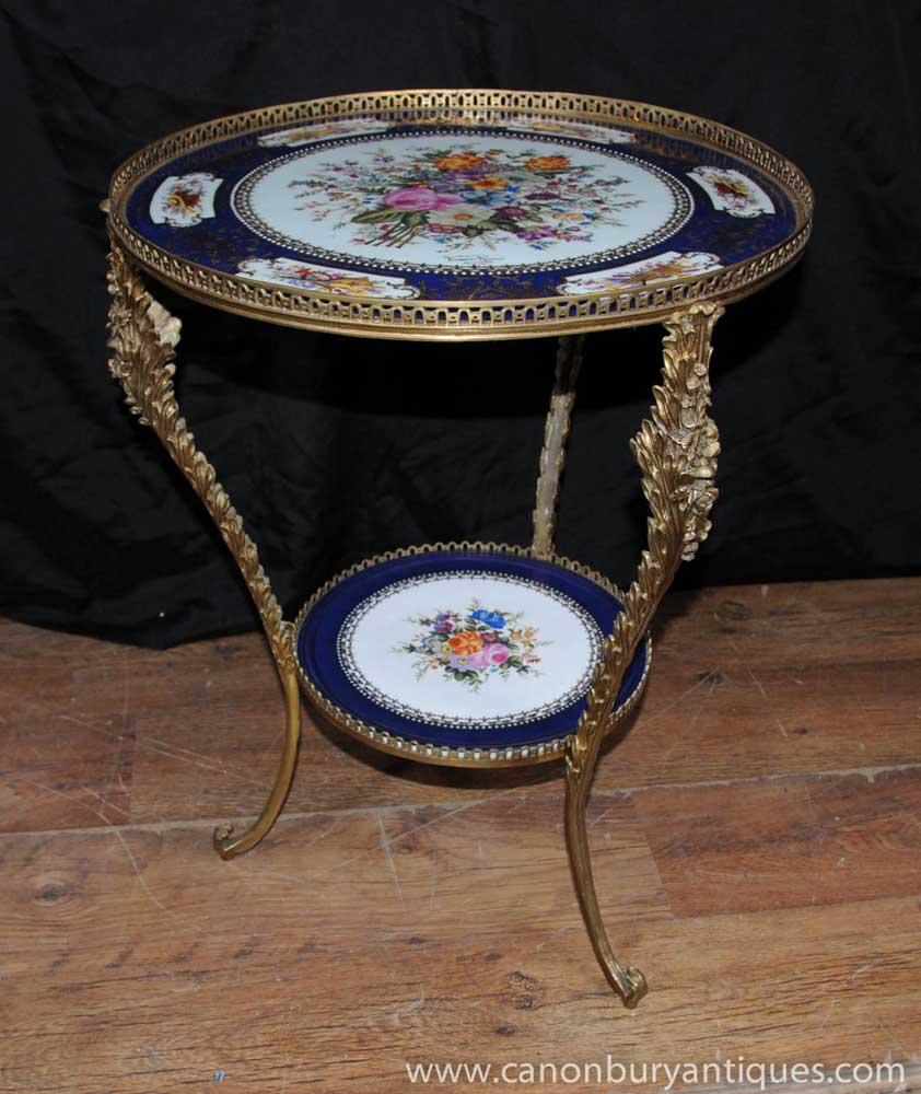 French Sevres Porcelain Side Table Ormolu Signed Plaque