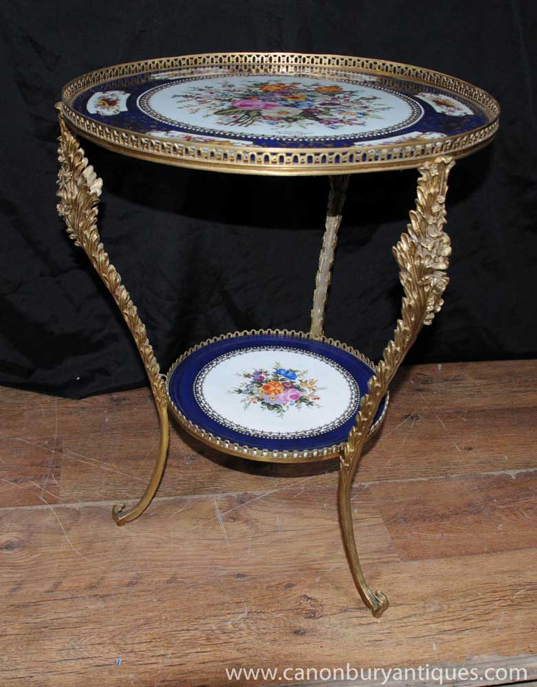French Sevres Porcelain Side Table Ormolu Signed Plaque
