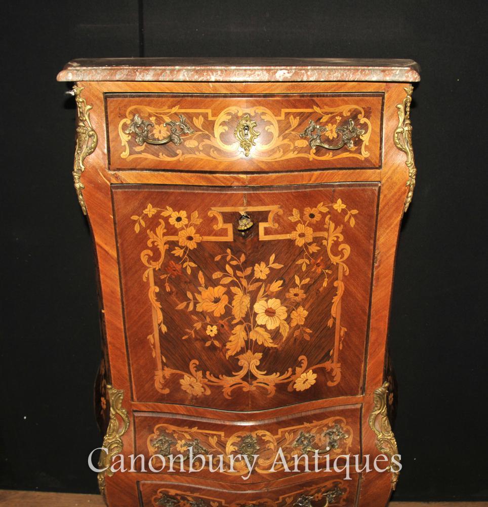 French Antique Escritoire Desk Chest 1900 Inlaid Empire
