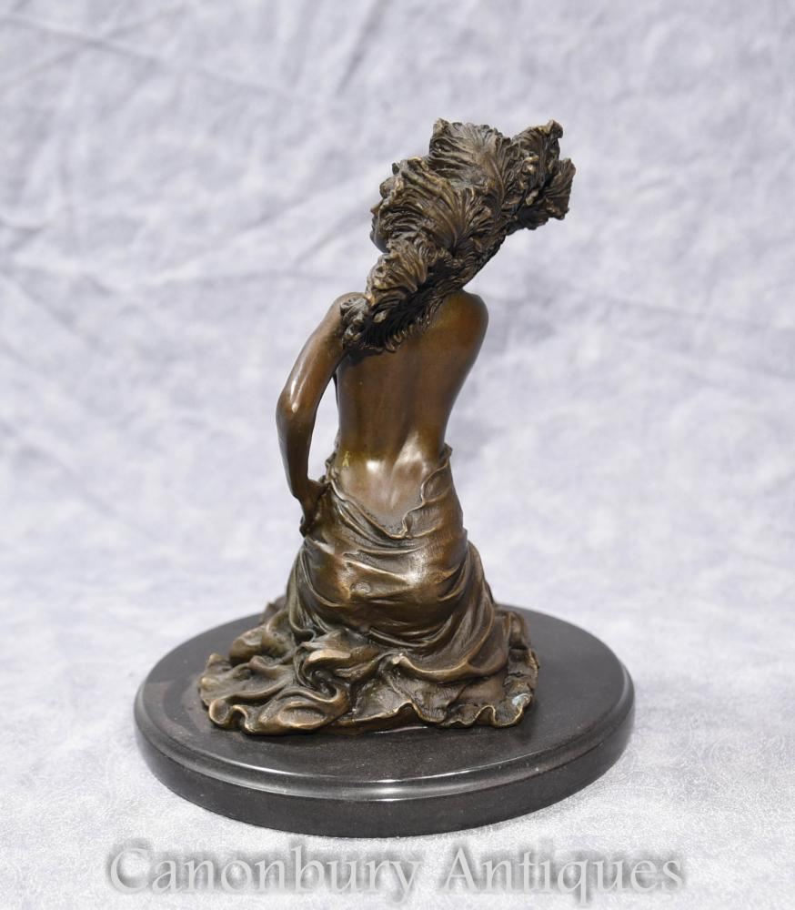 French Art Deco Bronze Nude Female Figurine By Colinet-6926