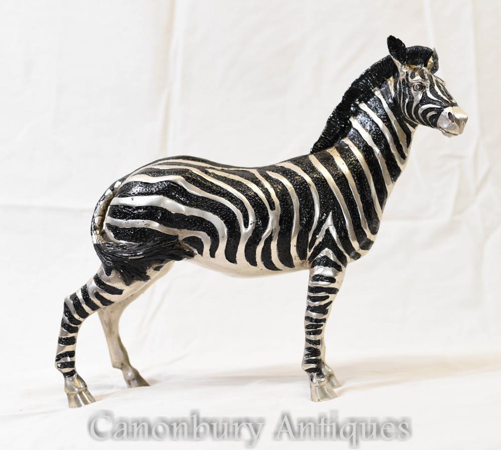 French art deco silver bronze zebra statue for Deco zebre