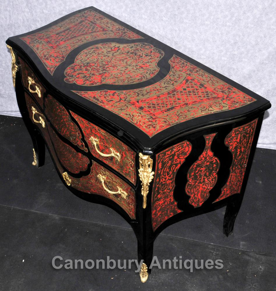 French Boulle Chest Drawers Bombe Commode Inlay Louis Xvi