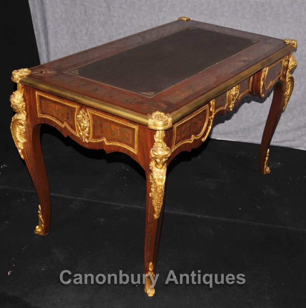French boulle writing desk table bureau plat ormolu kingwood for Bureau french