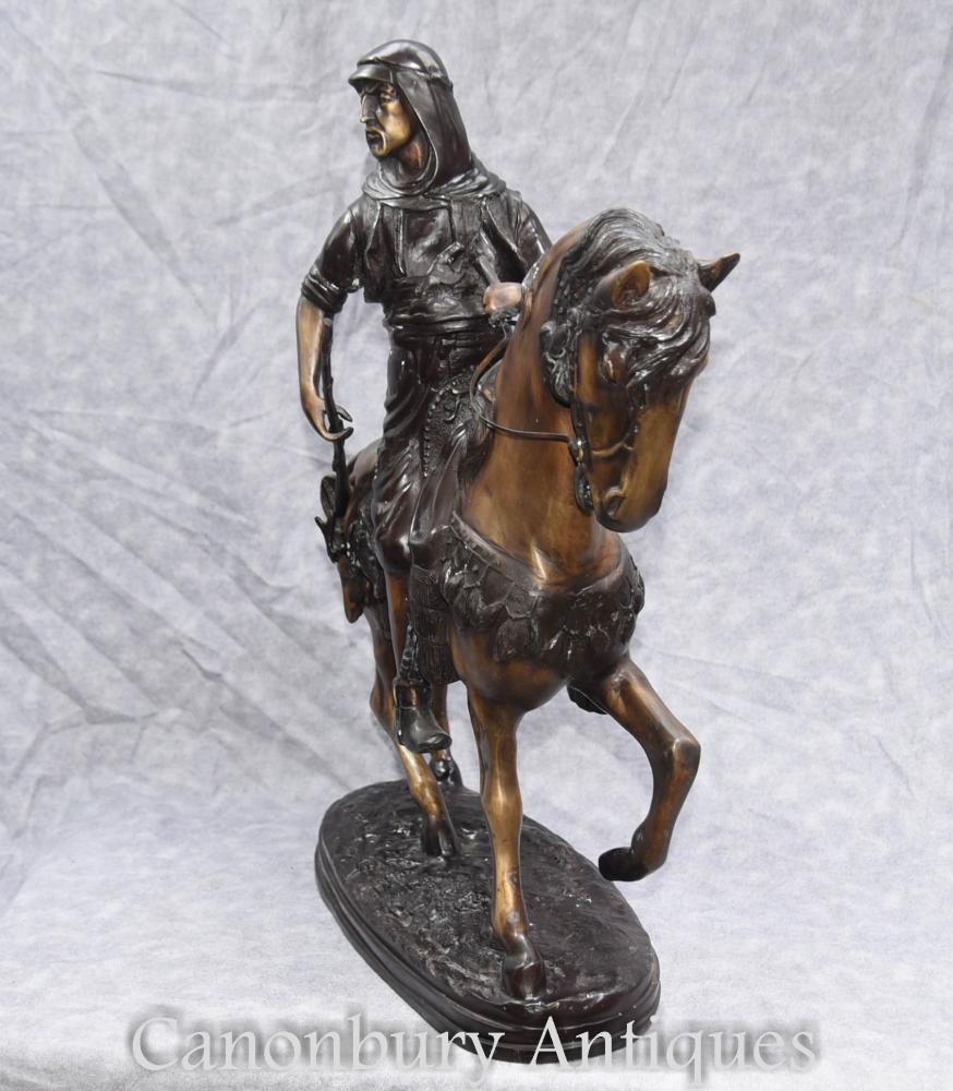 French Bronze Arab On Horseback Orientalist Statue By Barye