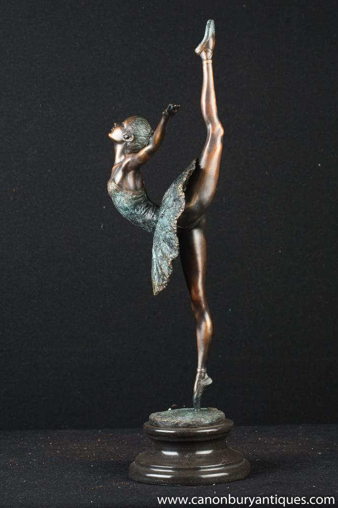 French Bronze Degas Ballerina Statue Ballet Figurine