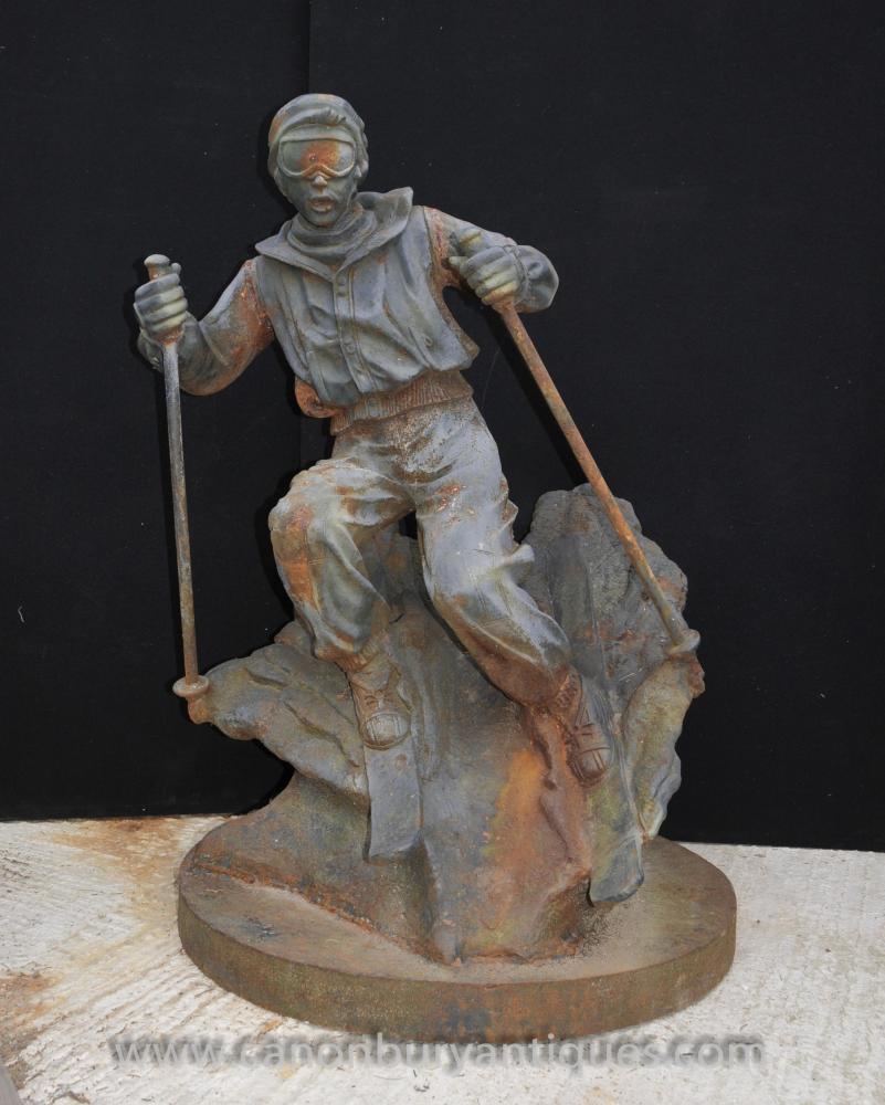 French Cast Iron Lifesize Ski Statue Sculpture Alpine Skier
