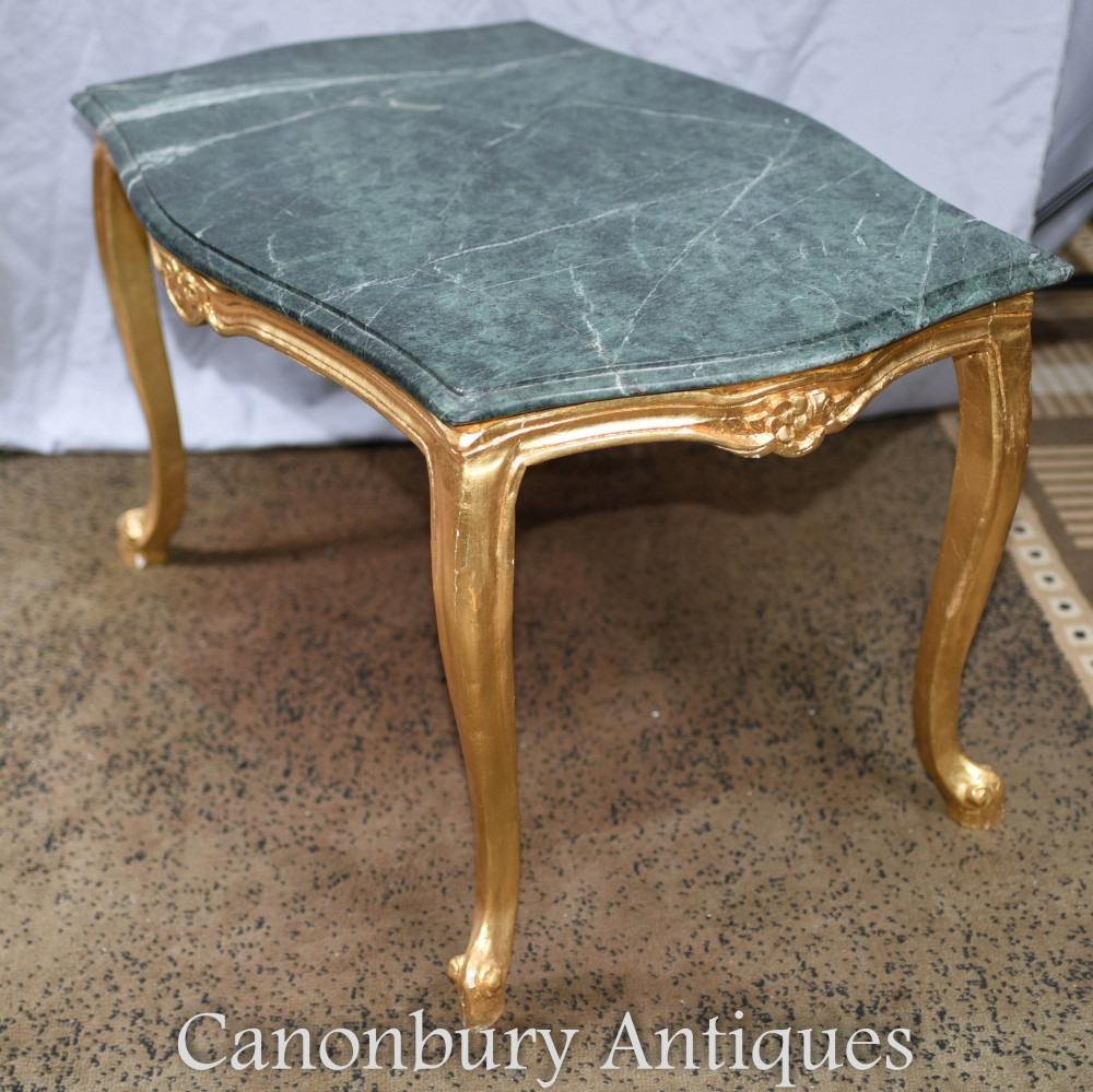 Marble Topped Gilt Coffee Table C 1920: French Empire Coffee Table Gilt Marble Top